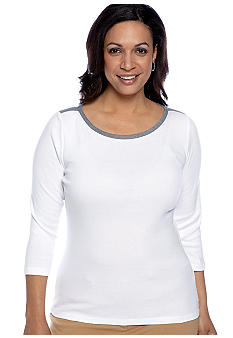 Jones New York Signature Plus Size Three Quarter Length Shirt
