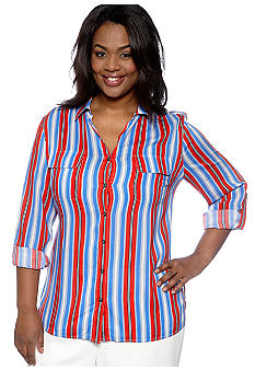 Jones New York Signature Plus Size Roll Sleeve Work Shirt