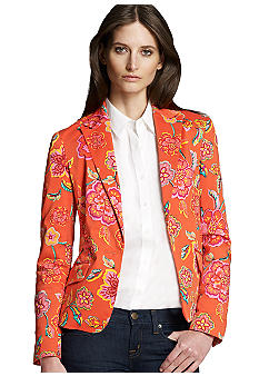 Jones New York Signature Petite Fitted Printed Blazer