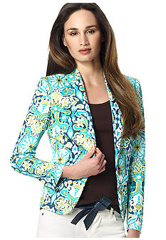 Jones New York Signature Fitted Printed Blazer
