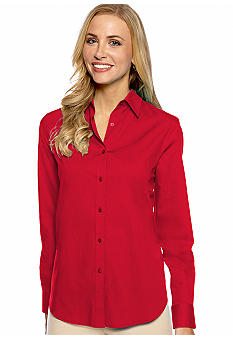 Jones New York Signature Petite Basic Long Sleeve Shirt