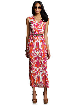 Jones New York Signature Maxi Dress With Ruffled V Neckline