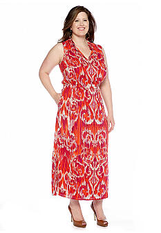 Jones New York Signature Plus Size Ruffle Neck Maxi Dress