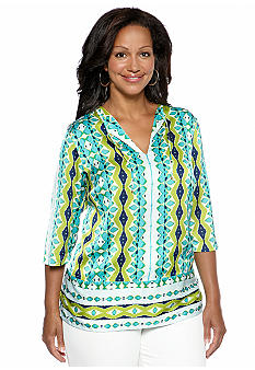 Jones New York Signature Plus Size V-Neck Tunic Top