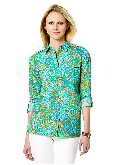 Jones New York Signature Printed Shirt With Roll Tab Sleeves