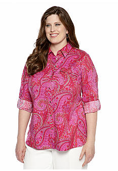 Jones New York Signature Plus Size Printed Shirt with Roll Tab Sleeves
