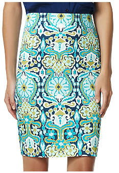 Jones New York Signature Plus Size Printed Pencil Skirt
