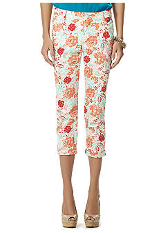Jones New York Signature Printed Cuff Capri