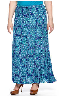Jones New York Signature Plus Size Printed Maxi Skirt