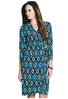 Jones New York Signature 3/4 Sleeve Wrap Dress