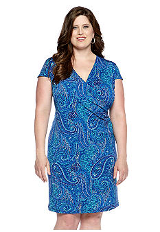 Jones New York Signature Plus Size Printed Faux Wrap Dress