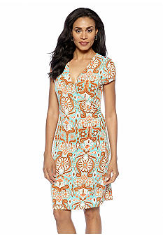 Jones New York Signature Faux Wrap Dress With Cap Sleeves
