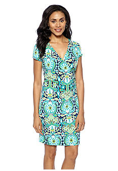 Jones New York Signature Plus Size Faux Wrap Dress with Cap Sleeves
