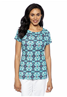 Jones New York Signature Print Cap Sleeve Ballet Neck Top