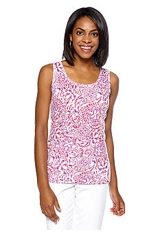 Jones New York Signature Print Scoop Neck Tank