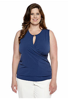 Jones New York Signature Plus Size Solid Wrap Top