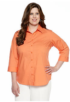 Jones New York Signature Plus Size Button Front Shirt