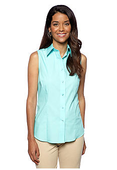 Jones New York Signature Petite Front Button Sleeveless Shirt