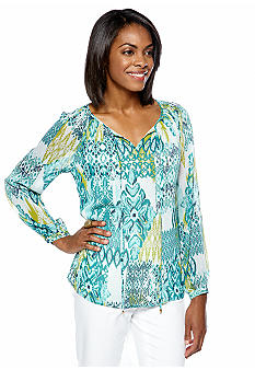 Jones New York Signature Plus Size Pleated Raglan Blouse