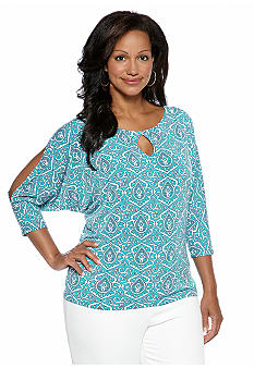 Jones New York Signature Plus Size Dolman Sleeve Print Top