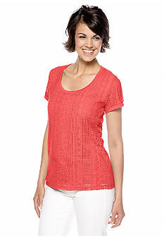 Jones New York Signature Scoop Neck Lace Front Top
