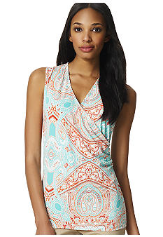 Jones New York Signature Sleeveless Faux Wrap Shirt