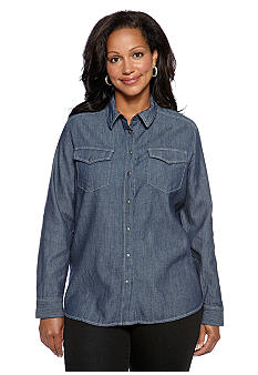 Jones New York Signature Plus Size Denim Shirt