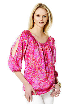 Jones New York Signature Wide Neck Printed Top