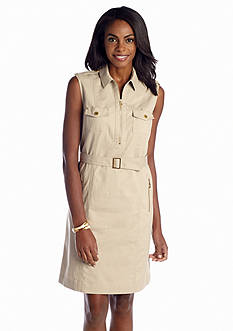 Jones New York Signature Sleeveless Safari Shirt Dress