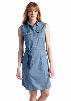 Jones New York Signature Sleeveless Chambray Shirt Dress