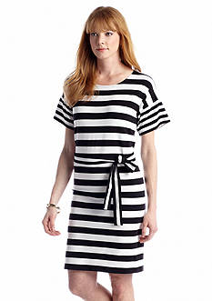 Jones New York Signature Boat Neck Belted Short Sleeve Dress