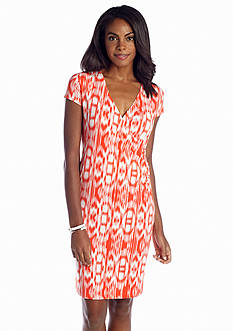 Jones New York Signature Short Sleeve Printed Wrap Dress