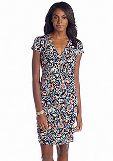 Jones New York Signature Short Sleeve Paisley Printed Wrap Dress
