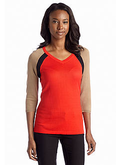 Jones New York Signature Three-Quarter Sleeve Colorblock Sweater