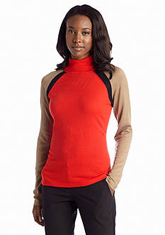 Jones New York Signature Long Sleeve Colorblock Turtleneck Sweater