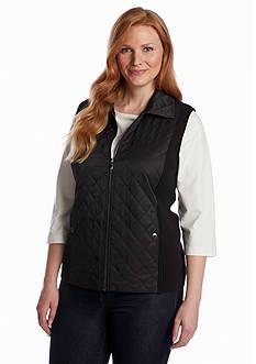 Jones New York Collection Plus Size Quilted Zip Front Vest