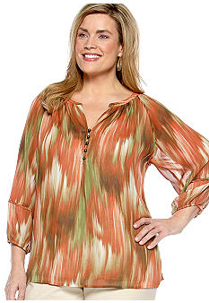 Jones New York Signature Plus Size Printed Blouse