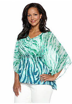 Jones New York Signature Plus Size Printed Poncho Top