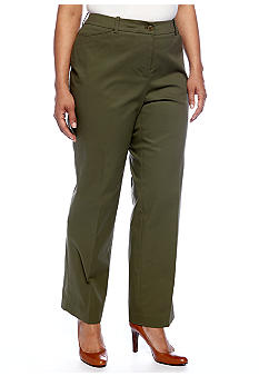 Jones New York Signature Plus Size Cotton Twill Pant