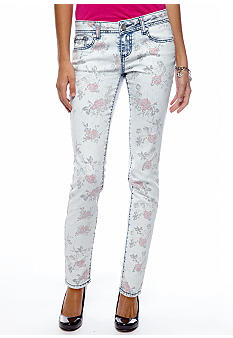 Almost Famous Faded Flower Printed Skinny Jean