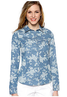 Almost Famous Floral Printed Denim Shirt