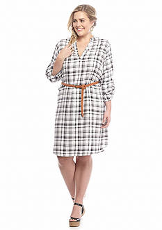Almost Famous™ Plus Size Plaid Shirt Dress