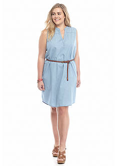 Almost Famous Plus Size Belted Chambray Dress