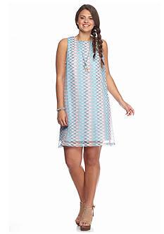 Almost Famous Plus Size Crochet Chevron Swing Dress