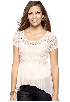 Almost Famous Crochet Scoop Neck Chiffon Trim