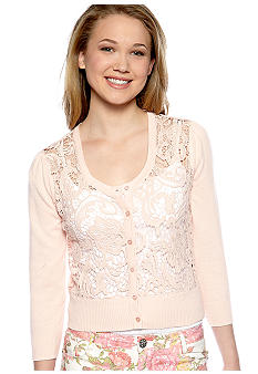 Almost Famous Lace Front Cropped Cardigan