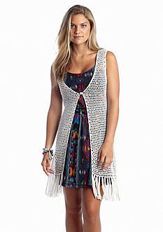 Almost Famous Fringed Hem Crochet Vest
