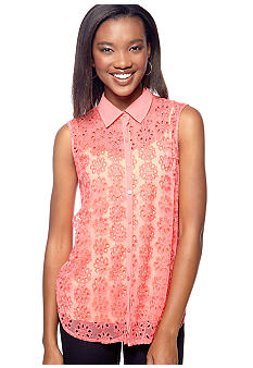 Almost Famous Daisy Eyelet Sleeveless Shirt