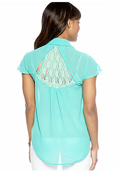 Almost Famous Lace Yoke Button Up Shirt