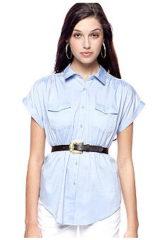 Almost Famous Lace Placket Belted Chambray Shirt